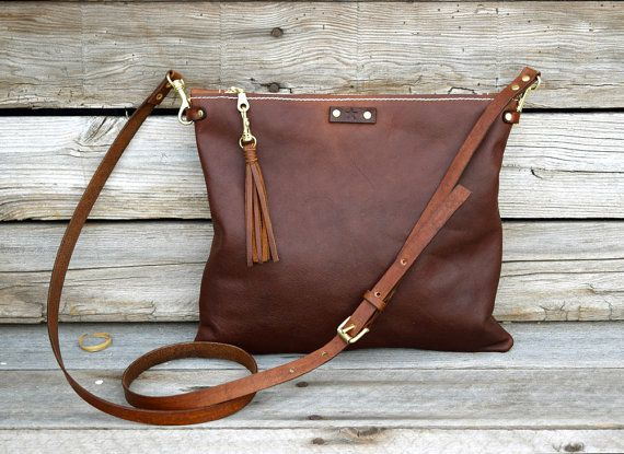 Small Cross Body Leather Bag / Fold Over Leather Bag / Convertible Leather Purse / Handmade Bag / Feral Empire / Zipper Clutch