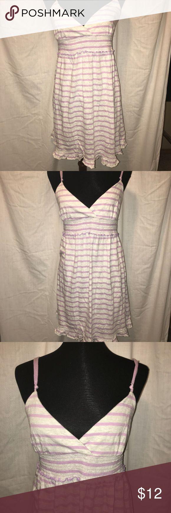 VS Pink Lilac and Light Gray Striped Dress Like new, spaghetti adjustable straps. Pale purple on light gray background. Ruffle hem. Smocked waist. Lightweight cute and comfy PINK Dresses Mini