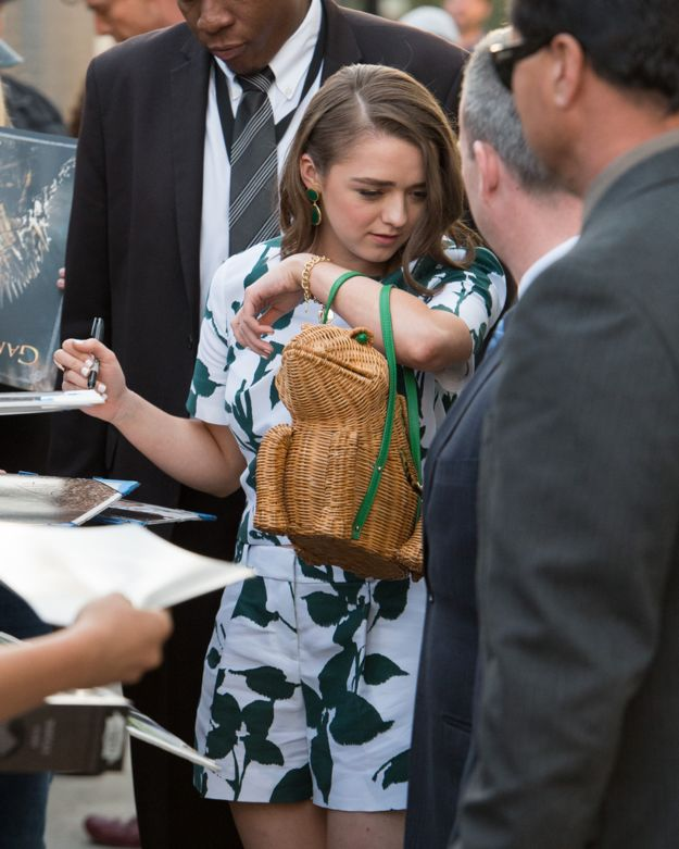 It's a goddamn wicker frog for Christ's sake. | Let's All Take A Moment To Appreciate Maisie Williams' Badass Handbag Game