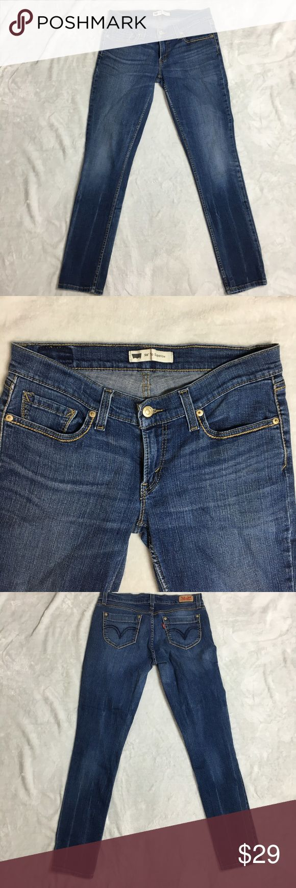 "Levi's Women's 524 Too Superlow Skinny Jeans Levi's Women's 524 Too Superlow Skinny Jeans Dark Wash Disttresed Sz 28 or 30 there is no size tag so I guess it might be 28 or 30 please check the measurement for better size reference waist: 32"" rise : 9"" inseam : 31""  in great condition, please see pictures for condition details  if you need more information please feel free to ask Levi's Jeans Skinny"