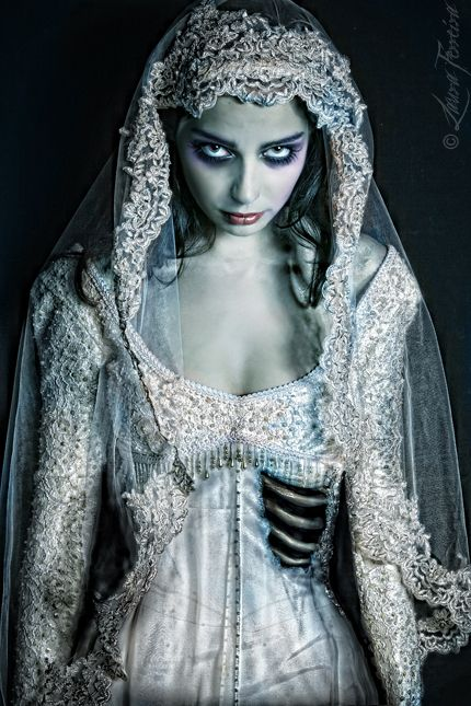 What better bride to be at your Halloween Wedding than a Corpse Bride? Wicked makeup and dress!