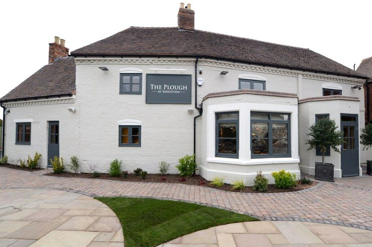 The Exterior of the Pub, painted in Farrow and Ball country colours, cornforth white