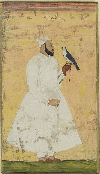 Gentleman and Falcon (portrait of Navab Davud Khan), Mughal India, 1756, created in Hyderabad, Deccan, India | Harvard Art Museums