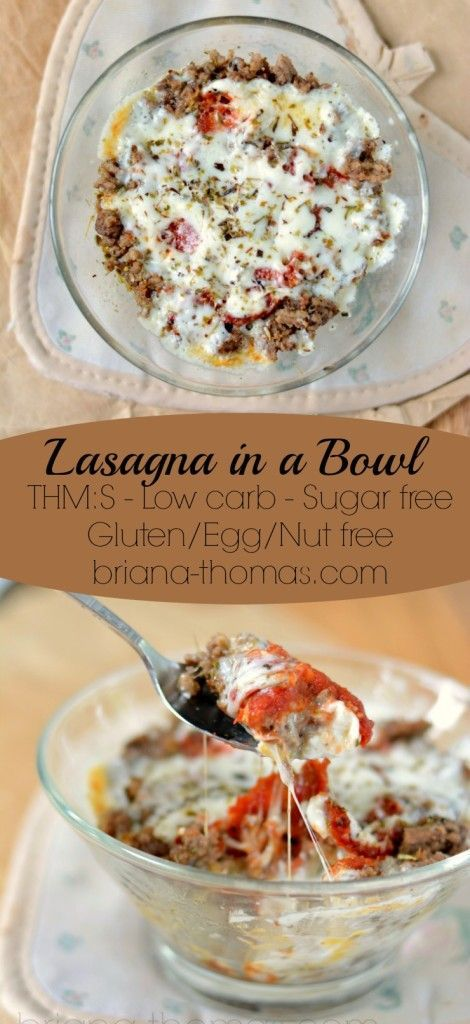 Single-Serve Lasagna in a Bowl...THM:S, low carb, sugar free, gluten/egg/nut free