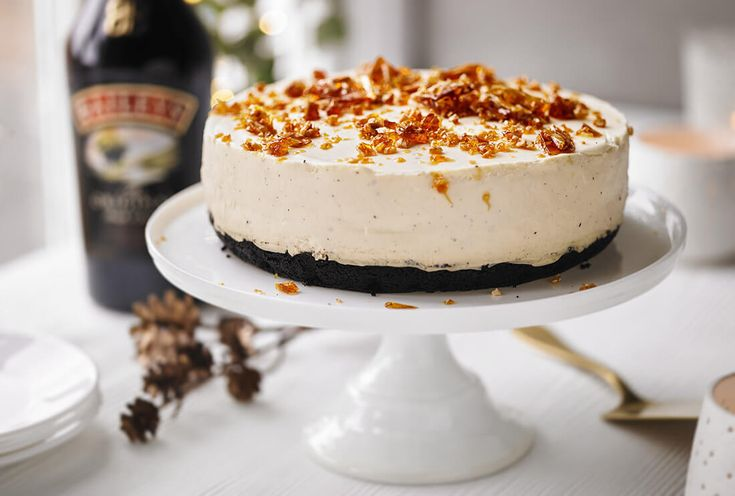 Baileys cheesecake with chocolate base & brittle