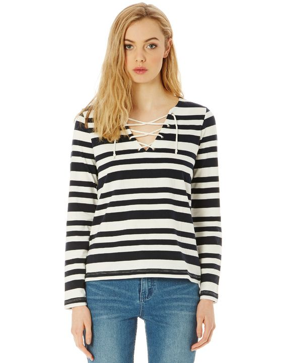 Cotton Stripe Lace Up Top