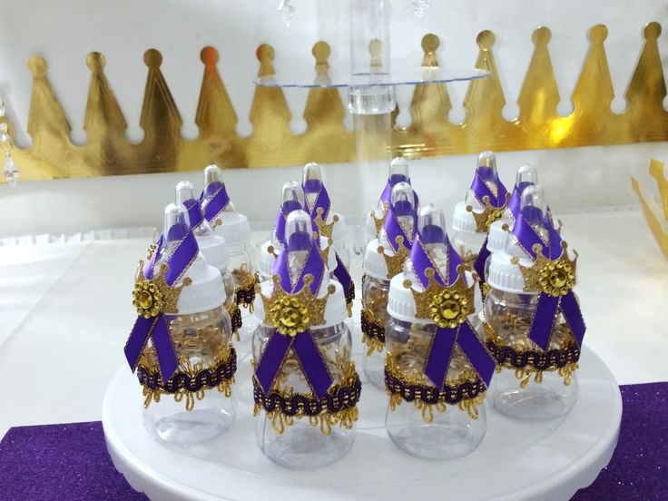 12 Princess Baby Shower Favors For Unisex Baby Shower/PURPLE U0026 GOLD Girls  Bottle Favors. Prince Themed ...