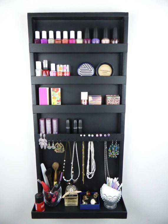 Black makeup and jewelry organizer - display - nail polish rack - beauty station - bedroom storage - wall hanging - wooden - handmade on Etsy, $98.00