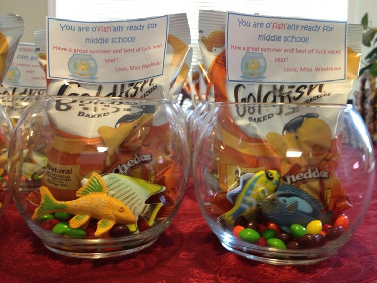 "My End of Year Gifts for my fifth graders: ""You are oFISHally ready for middle school"" I used Skittles as pebbles, added a package of Goldfish, rubber fish I bought in packs at the Dollar Store and included a PetCo Gift Card which was for a free Betafish! My kids LOVED them :)"
