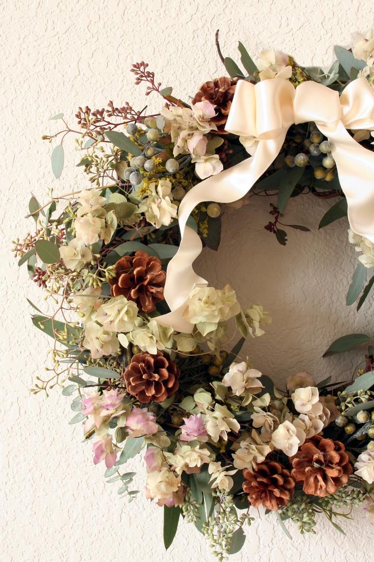 **Floral Wreath, creams and pine cones