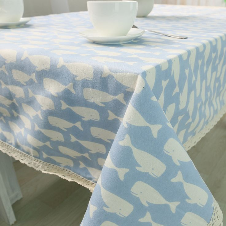 Fish Cotton Linen Table Cloth Mediterranean Style Rectangle Table Cover Coffee Tablecloth with Lace Edge Manteles