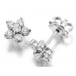Cercei Stud Aur Alb 18kt cu Diamante Rotund Briliant in Forma de Floare - RDE058W