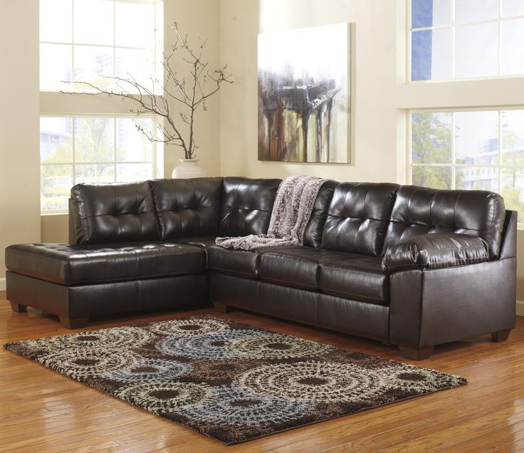 Signature Design by Ashley Furniture Alliston DuraBlend - Chocolate Right Facing Sectional w/ Tufting - Samu0027s Furniture u0026 Appliance - Sofa Sectional Fort ... : leather sectionals dallas - Sectionals, Sofas & Couches