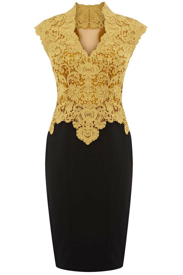 Sexy V-neckline dress with matched lacework(2colors)_Dresses(d)_DESIGNER_Voguec Shop