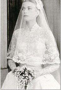 Grace Kelly with blusher Mantilla veil.   Elegant ~