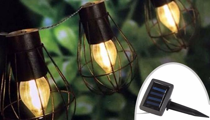 Buy Set of 10 Warm White Solar String Lights - 1 or 2 UK deal for just: £14.99 Make the most of the sun with a Set of 10 Warm White Solar String Lights      Chance to buy 1 or 2 sets      Lamps are spaced 20cm apart along a 2m string and protected by an iron cage      Solar panels acquire charge during the day, ready to provide light at night      A greener way to brighten up the garden when...
