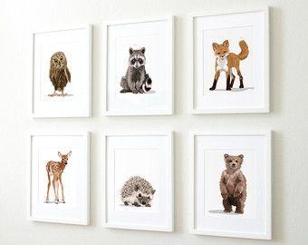 Woodland kwekerij Art dierlijke schilderijen Fox Bunny