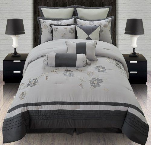 Gray Embroidered Comforter : Piece queen rosalind grey embroidered comforter set by