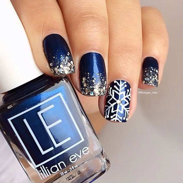 Navy Blue and Silver Glitter Winter Nails