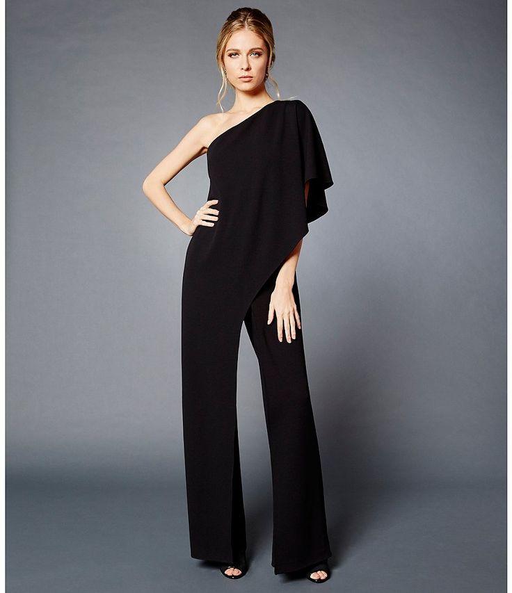 Black:Adrianna Papell Petite One-Shoulder Draped Jumpsuit