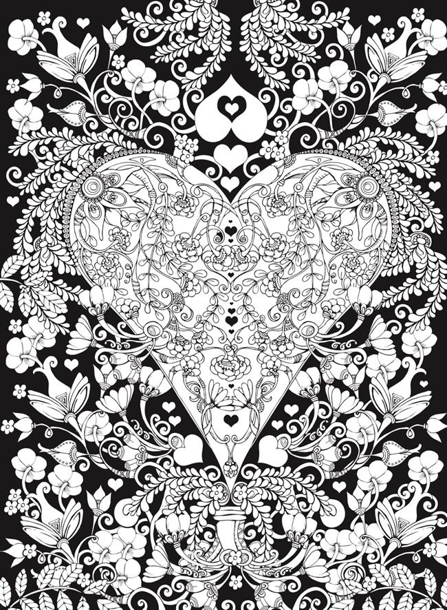 Creative Haven Hearts Coloring Book Romantic Designs On A Dramatic Black Background