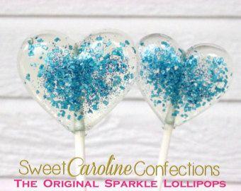 Heart lollies, blauwe bruiloft gunst, partij gunsten, Baby douche gunsten, hart snoep, lollies, Sweet Caroline gebak - - Set van zes