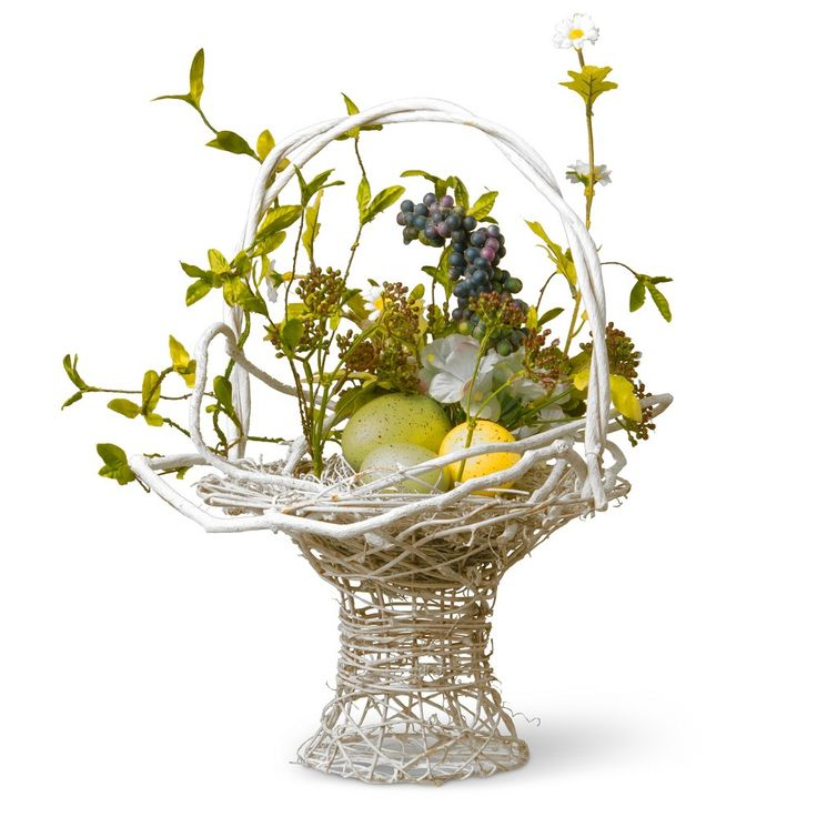 14 Decorated Easter Basket Green - National Tree Company, White