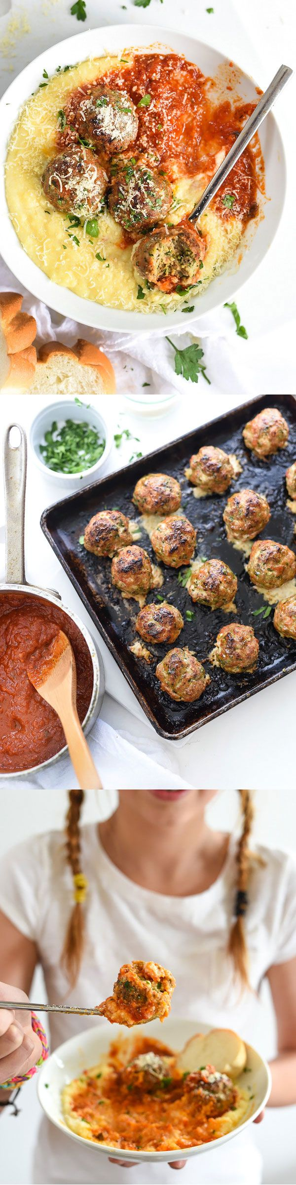 Baked instead of fried, my Turkey Meatballs with Creamy Polenta and DeLallo Marinara is half homemade, half pre-made and just what healthier—and easier—weeknight eats are made of   foodiecrush.com