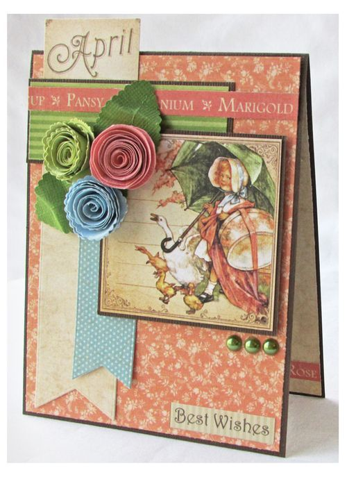 "Make this Place in Time ""Best Wishes"" card with a great project sheet and tutorial from Gloria Stengel! #graphic45 #cards #tutorials"