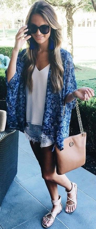Blue Kimono + White + Denim                                                                             Source