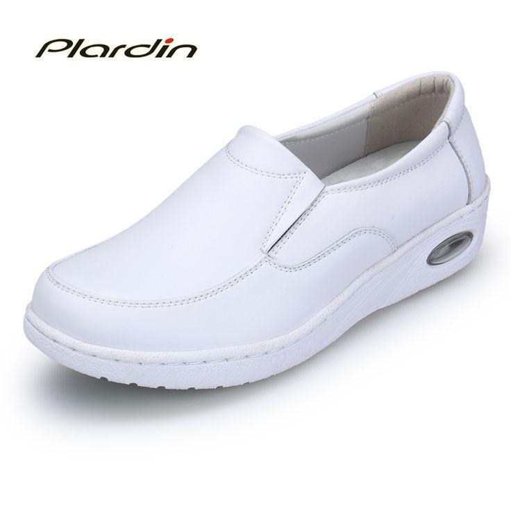 plardin 2017 Four Seasons Woman Pure white Nurse shoes women Platform soft Sewing Comfortable Air cushion casual genuine shoes #Affiliate
