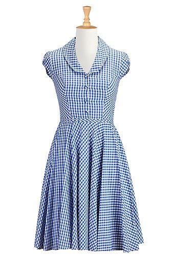 {So cute! Reminds me of Dorothy...} eShakti Shawl collar gingham check dress