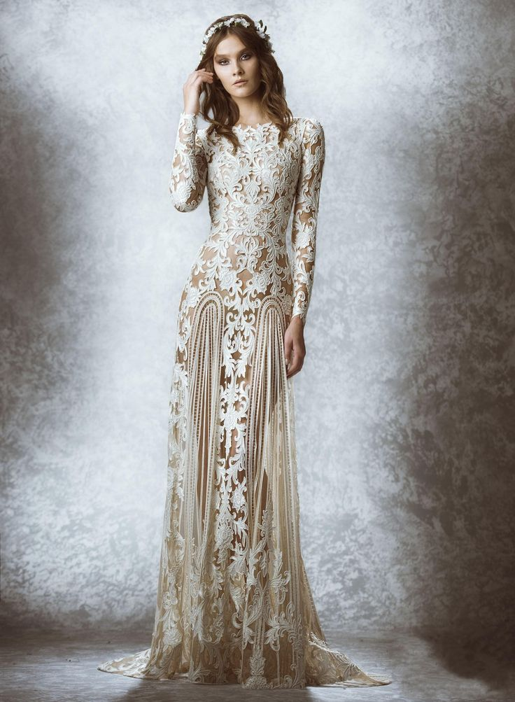 Zuhair Murad Dress 2015 Fall Winter Sheath Evening Dress High Crew Neckline Long Sleeves See Through Lace Appliques Formal Dress Bridal Gown