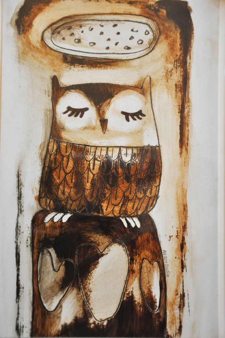 Halo uil, spijker-illustratie / Halo owl, nail illustration Uilen zijn fantastisch om te schilderen!