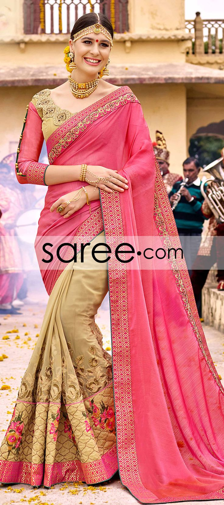 Pink and Beige Georgette Saree With Zari Embroidery Work