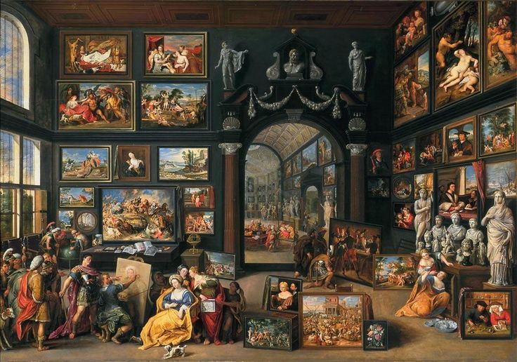 Willem van Haecht (1593-1637) — Apelles Painting Campaspe, c.1630 : The Mauritshuis, The Hague. Netherlands (1197x840)