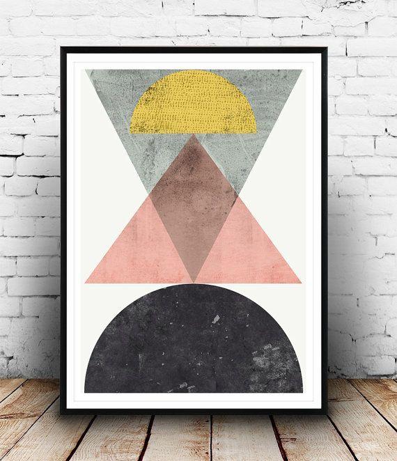 幾何学的なプリント、抽象芸術、北欧デザイン、パテル色アート、ミニマルなデザイン、モダニズム様式芸術、水彩抽象、三角形アート
