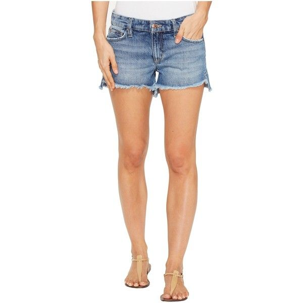 Joe's Jeans High-Low Shorts in Yoselyn (Yoselyn) Women's Shorts ($65) ❤ liked on Polyvore featuring shorts, blue, cutoff jean shorts, low rise jean shorts, cutoff denim shorts, cut-off jean shorts and leather shorts