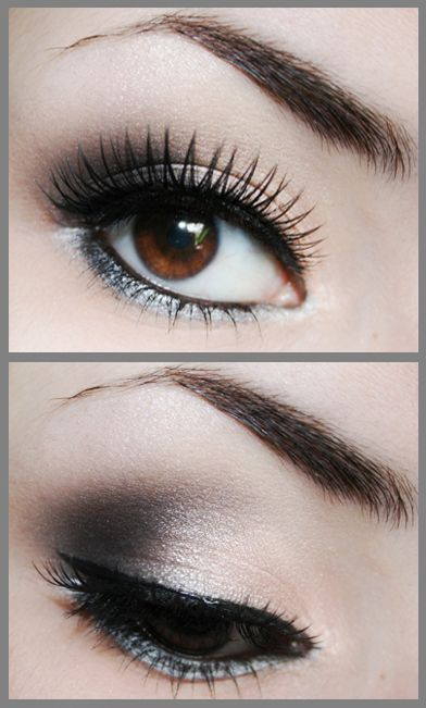 Black (Coal) And Shimmer Cream Beach Blonde Eye Shadow under Crystalline)  W/ Silver Line On Lower Lash Line (use Glacier Gray Cream Shadow with Angled Eye Liner Brush.)