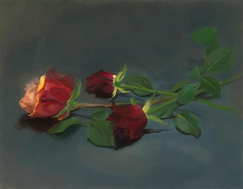 "Daily Paintworks - ""3 Roses"" - Original Fine Art for Sale - © James Dewing . Still Life Alla Prima"