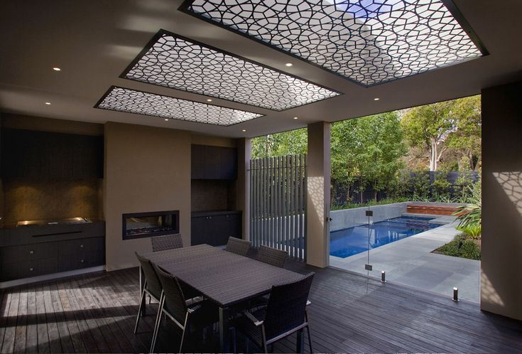 Skylight Roof Canopy Outdoor Deck Roof Design งานฉลุ