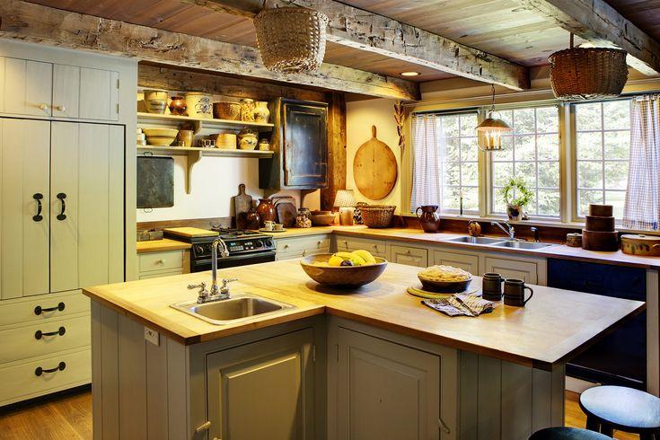 Landelijke keuken met houten balken - keukenkasten schilderen