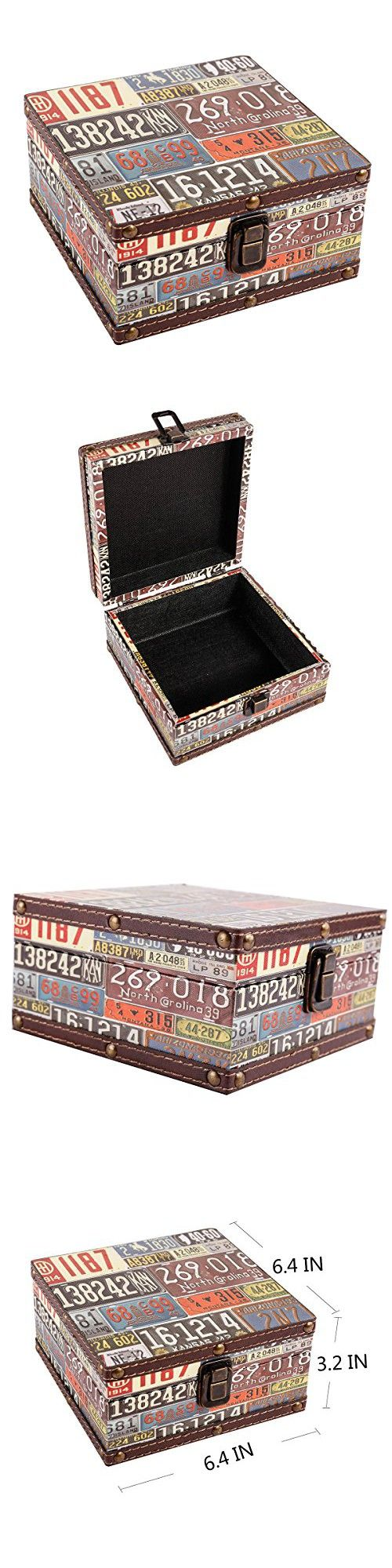"""WaaHome Wooden Treasure Box Vintage Square Treasure Chest Jewelry Keepsakes Storage Boxes For Men Women,Home Decor,License Plate Number Design,6.4""""LX6.4""""WX3.2""""H"""