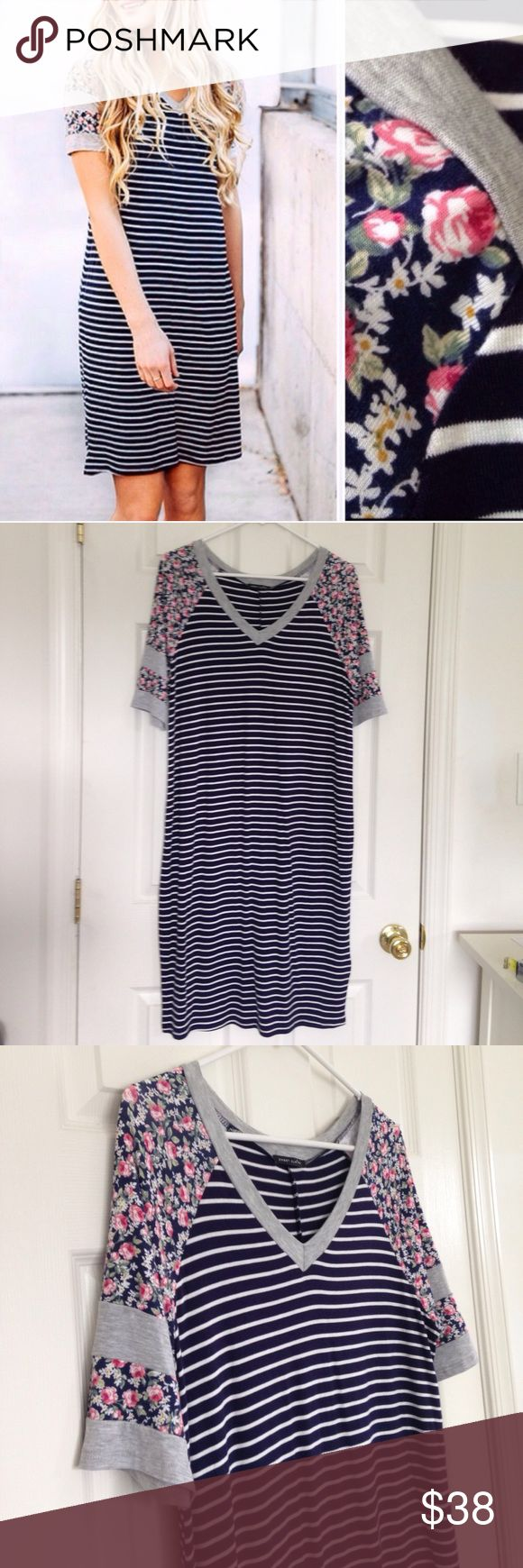 """Black & White Stripe Floral Dress Brand new without tag - got online without tag. Black and white striped Floral - sleeves v-neck midi dress. Soft and stretchy. 96% rayon and 4% spandex. Measurement laying flat: bust: 19"""" length:37"""" Large(8-10) Sweet Claire Dresses Midi"""