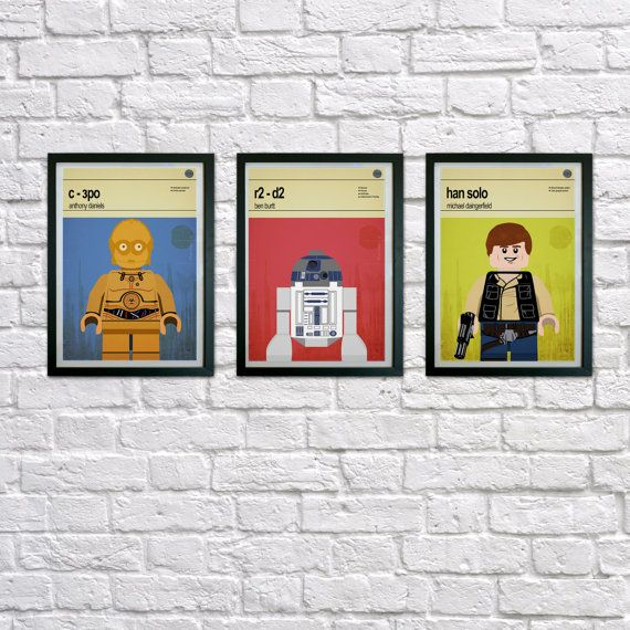 This is a stylish set of poster prints of the Lego Star Wars characters, fit to grace any man cave or children's bedroom. Hand drawn with a graphics tablet and pen these prints are styled with typography and feature the actors who voiced the Lego Star Wars characters in the Lego game and the Lego Star Wars abilities.