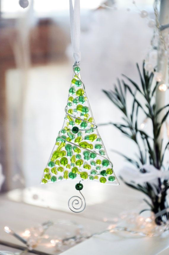Fused glass Christmas ornament - Christmas tree - Glass trees - Green Christmas ornaments