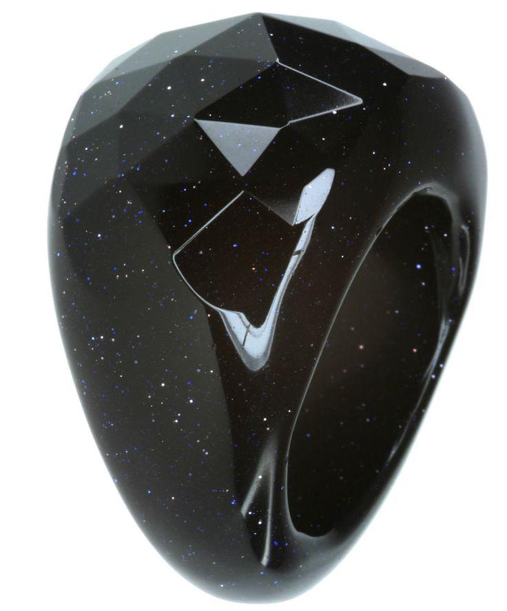 Blue Sandstone Gemstone Checkerboard Surface Ring size R