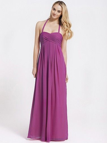 Long Halter Chiffon Bridesmaid Dress | Plus sizes available! You can even custom dress color with them!