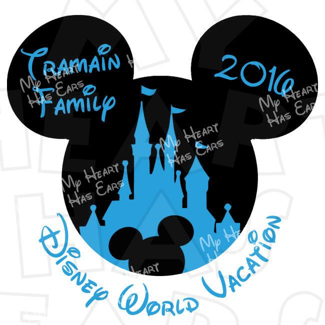 Mickey Mouse castle with Personalized family name Disney World Vacation digital clip art DIY for shirt :: My Heart Has Ears