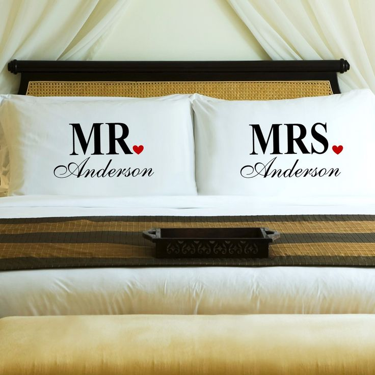 Mr. & Mrs. Pillow Cases - Personalized Designed in a bold print adorned with red hearts, these Mr. & Mrs. Pillow Cases are a great gift for those getting married or celebrating an anniversary. Each pi